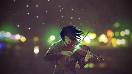 man playing magic violin in a night city outdoor, digital art style, illustration painting