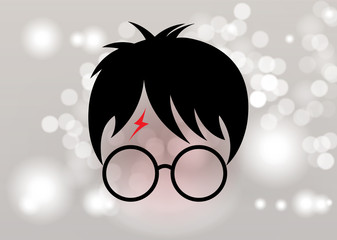 icon of a wizard boy with glasses, vector isolated or Blurry background circles