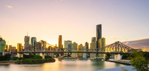Brisbane City at twilight including the Story Bridge