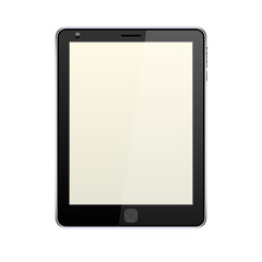 Black tablet, realistic, with camera, yellow-gray blank screen, bright monitor, power and sound buttons, center key, highlight and shadow, white background, isolated object