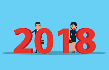 Corporation team and happy new year 2018. Vector business concept.