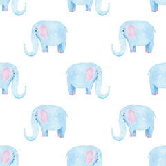 Cute elephant pattern. Seamless watercolor background with blue elephant cartoon character. Minimal baby or children print design. Girl nursery.