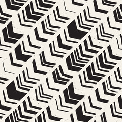 Vector seamless freehand pattern. Doodle monochrome print hand drawn chevron texture. Trendy graphic design.