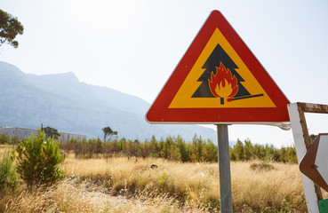 Forest fire road sign