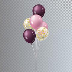 Vector realistic bunch helium balloons isolated.