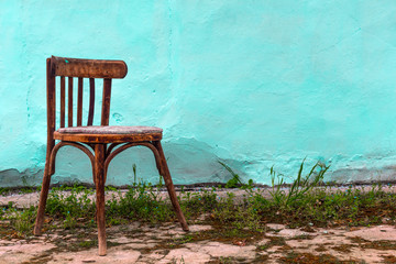 Old wooden chair in patio