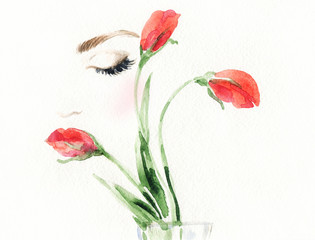 Deurstickers Aquarel Gezicht Beautiful woman face and flower. Fashion illustration.