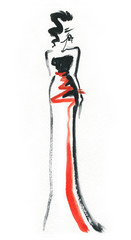 Deurstickers Aquarel Gezicht Elegant dress. Fashion illustration.