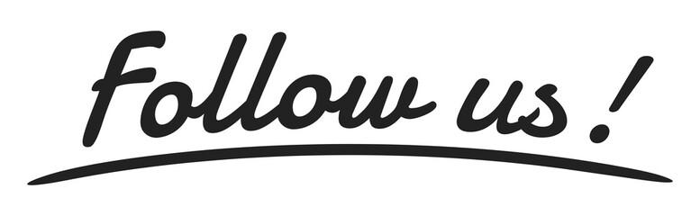 """Follow us"" Handwriting, Vector Illustration"