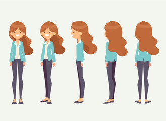 Young girl for animation. Front, side, back, 3/4 view character. Separate parts of body. Cartoon style, flat vector illustration.