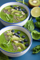 green smoothie bowl spinach kiwi blueberry lime banana with chia seed