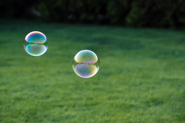 colorful soap bubbles fly