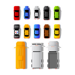 Set of different cars and trucks in top view, isolated on white