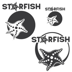 "an illustration consisting of different images of a starfish in the circle and the inscription ""starfish"" in the form of a symbol or logo"