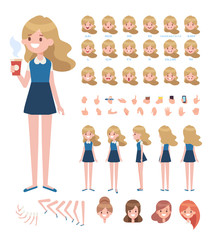 Front, side, back, 3/4 view animated character. Young girl character constructor with various views, face emotions, lip sync, poses and gestures. Cartoon style, flat vector illustration.