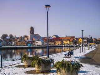 Wolgast Altstadt und Hafen im Winter