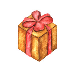 Box with red ribbon isolated on white background, watercolor illustration
