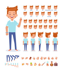 Young man vector character. Front, side, back view. Creation set with various views, face emotions, lip sync, poses and gestures. Cartoon style, flat vector illustration.
