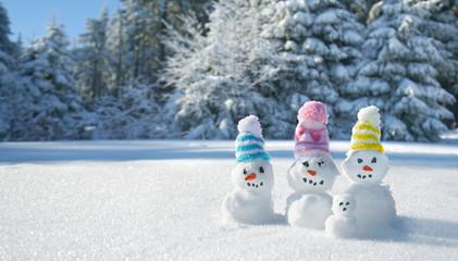 Schneemänner mit bunten Strickmützen