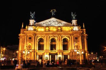 The Opera in the night city - Lviv, architectural landmark