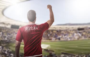 Russian fan celebrating in the stadium
