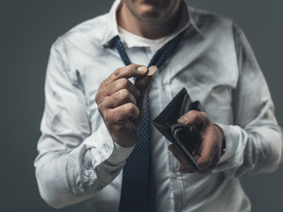 Jobless businessman with empty wallet