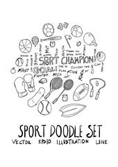 Sport fit doodle illustration circle form line sketch style eps10