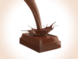 chocolate bar with chocolate splash