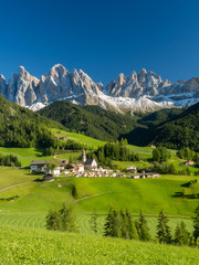 Santa Maddalena village in front of the Geisler or Odle Dolomites Group , Val di Funes, Italy, Europe. September, 2017