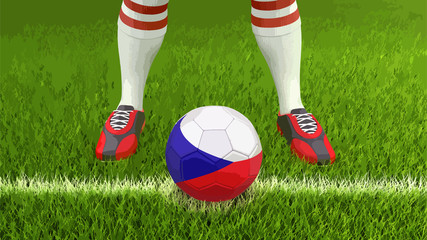 Man and soccer ball  with Czech flag