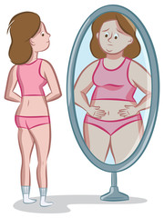 Teenage girl looking at her distorted body image in the mirror.