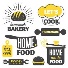 Retro cooking badges - homemade food emblems set