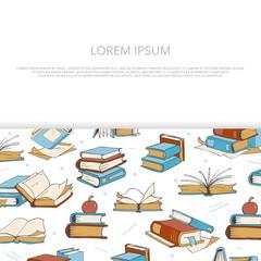 Bright books sketch banner design for shop