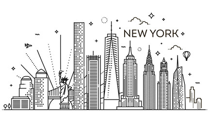 New York city skyline, vector illustration, flat design Fotobehang