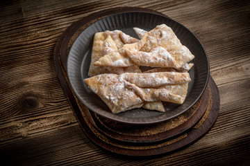 Faworki - traditional Polish crispy dessert.