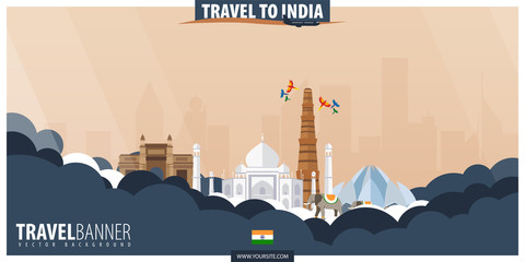 Travel to India. Travel and Tourism poster. Vector flat illustration.