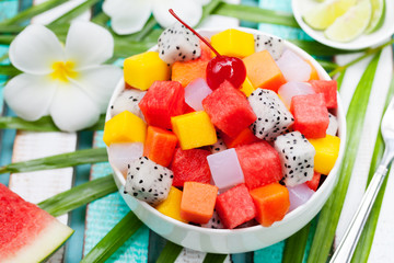 Bowl of fresh exotic fruit salad Healthy breakfast