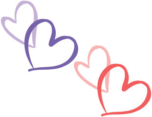 Hand Written Heart Love Shapes Vector Illustration