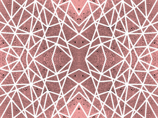 Red background with kaleidoscope effect. Abstract pattern of white crossed lines. Symmetric spiderweb effect. For modern technology design of leaflets, covers, wallpapers, websites, textile, giftwrap