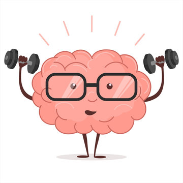 Brain training with dumbbells and glasses. Vector