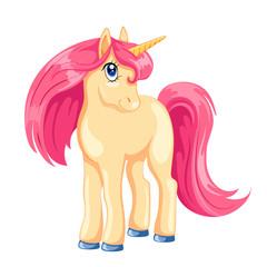 Cartoon unicorn with pink hair.