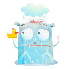 Creature sitting in the rain with friend toy duck. Vector cartoon.