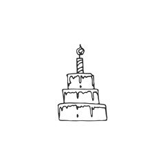 birthday cake with candle vector draw