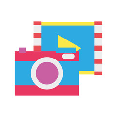 colorful digital camera technology with play video
