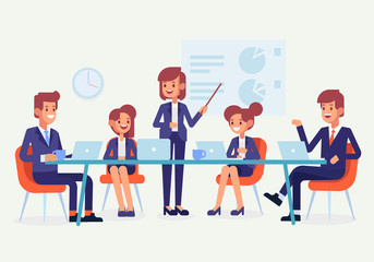 Wall Mural - Teamwork. Meeting business people. Flat style,vector illustration.
