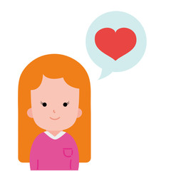 colorful woman with hairstyle design and heart inside chat bubble