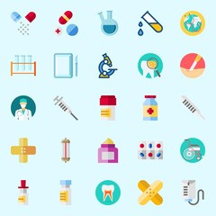 Icons set about Medical with cream, patch, surgery, test tube, microscope and pills