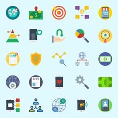 icons set about Marketing. with smartphone, pyramid, idea, shield, internet and target