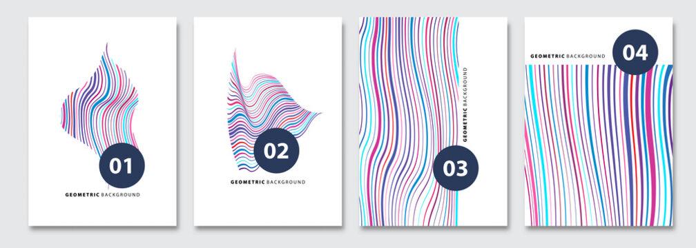 Cover templates set, vector geometric abstract background. Flyer, presentation, brochure, banner, poster design. Memphis, modern bauhaus style.