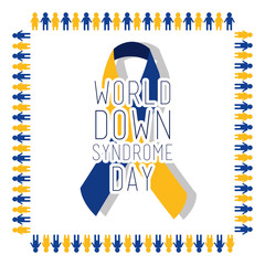 world down syndrome day card invitation event awareness healthy vector illustration